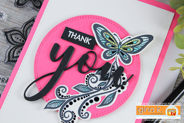 Thank You Card by Juliana Michaels featuring Gina K Designs BoHo Flowers Stamp Set and You Die