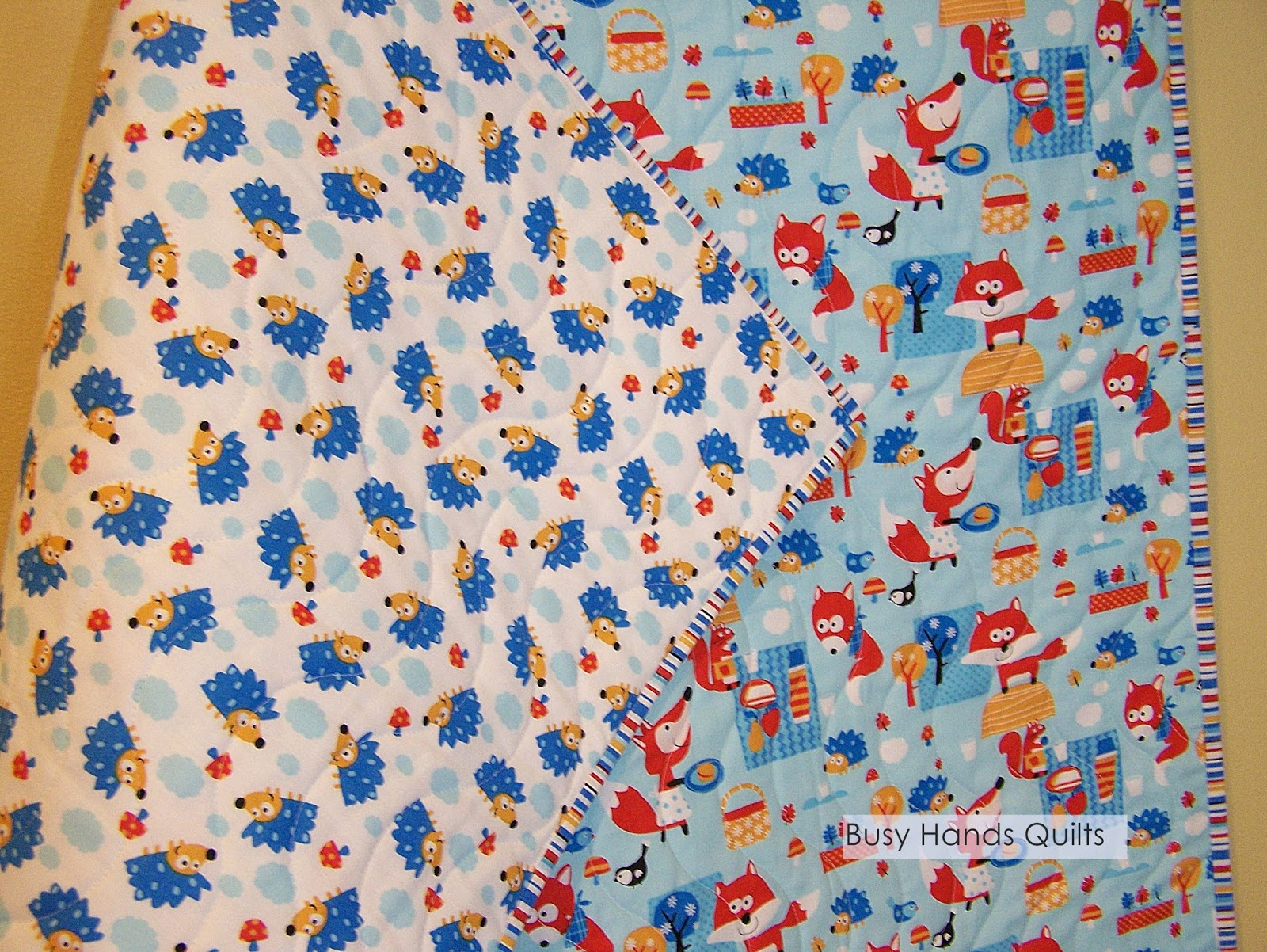 Baby Quilts.com Busy Hands Quilts Foxes And Hedgehogs Wholecloth Baby Quilt