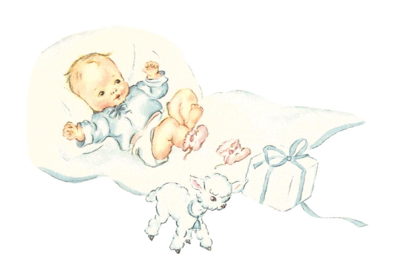 Antique Images: Digital Baby Boy Blue Image Lamb Newborn Gift