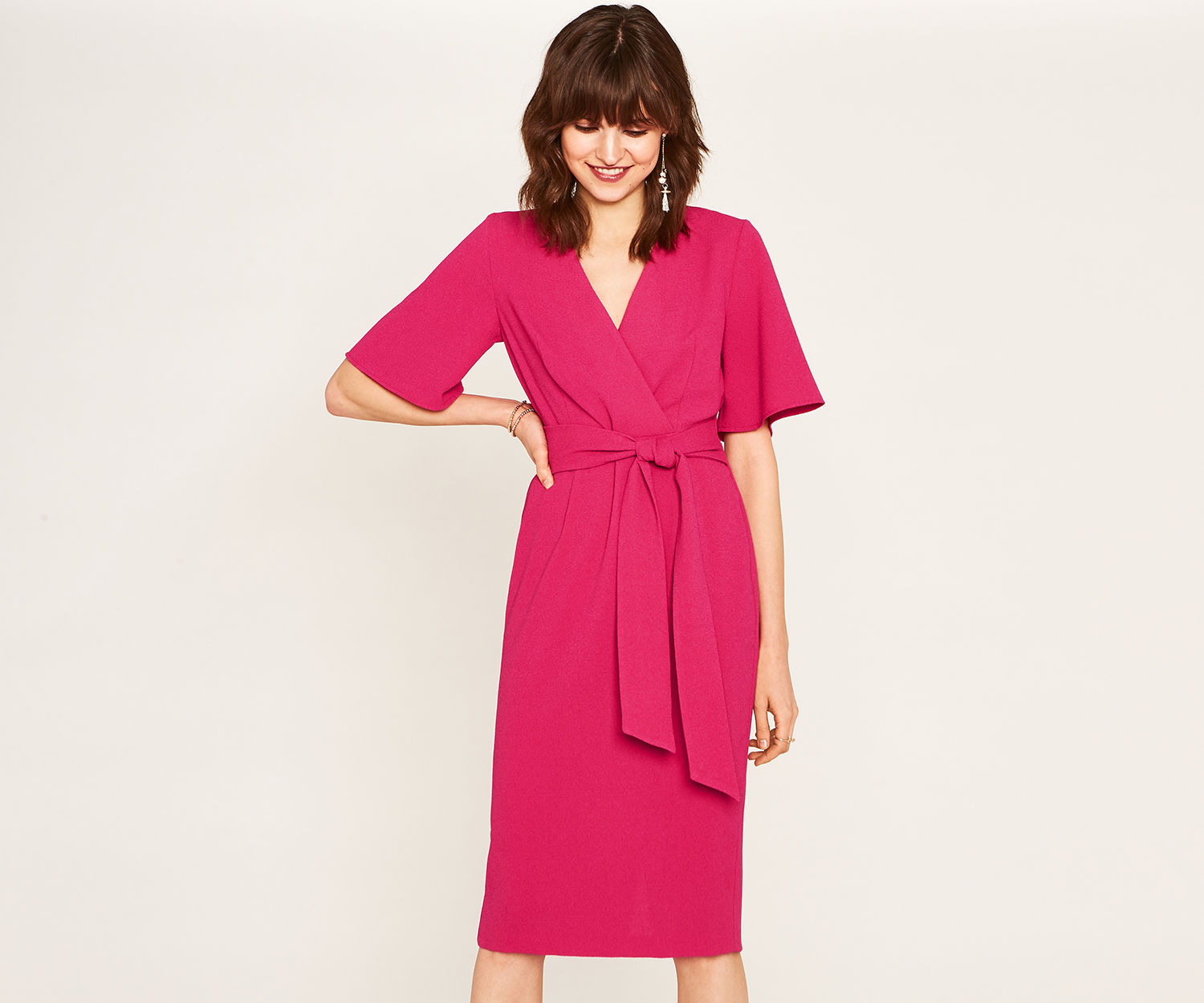 Oasis Mid Pink Angel Sleeve Tie Dress - UK style blog