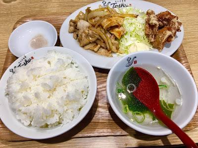 れんげ食堂Toshu(東秀)の生姜焼き唐揚げコンビランチ