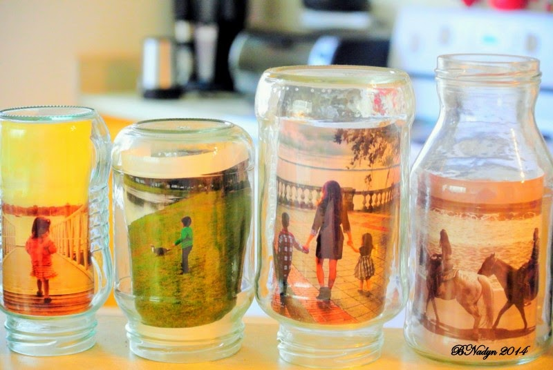 photo jars, recycle photo jars, upcycle jars