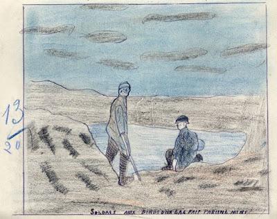 Cahier de dessin, élève Eugène Lacroix, école de Saint-Didier-sur-Chalaronne, 1916 : Légende : « Soldats aux bords d'un lac fait par une mine »