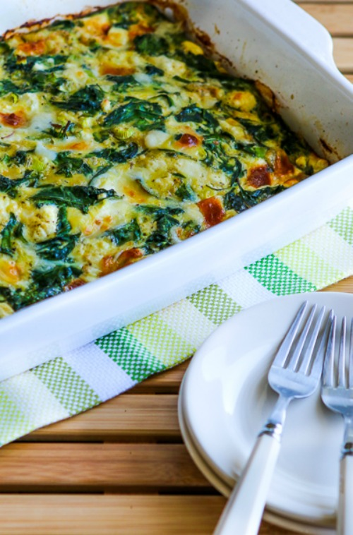 Low-Carb Power Greens Breakfast Casserole found on KalynsKitchen.com