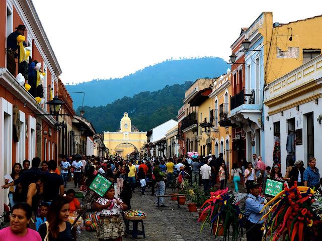 Busy streets of Antigua, Guatemala