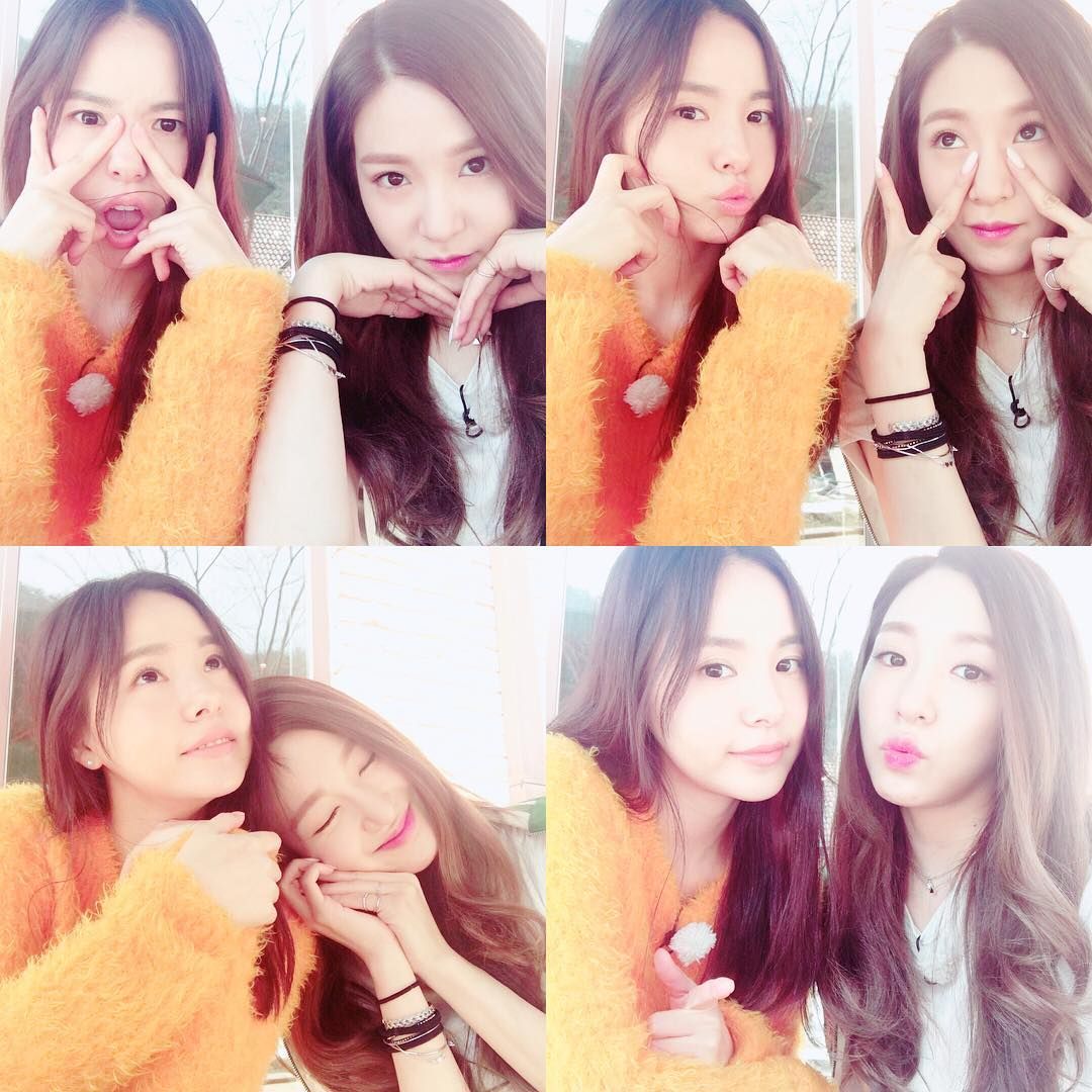 SNSD Tiffany snap cute pictures with Min Hyorin ...