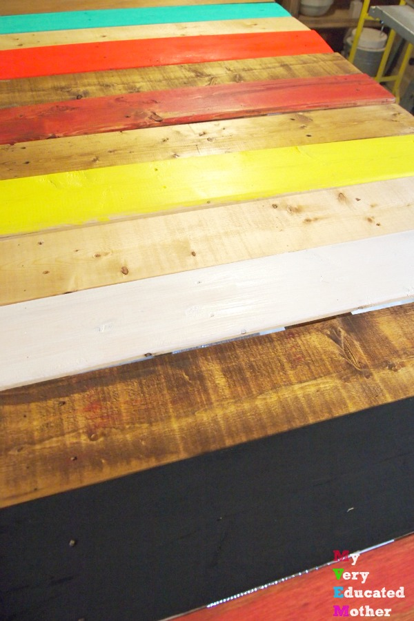 Pallet wood is a great crafting medium, here we use it to create a dining room table!