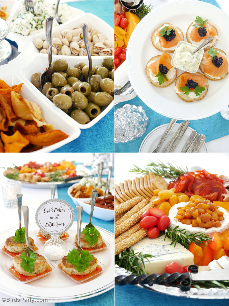 Christmas Party Appetizer Ideas Part - 38: A Silver U0026 Blue Christmas Holidays Cocktail U0026 Appetizers Party With Recipes,  Tablescape Styling Ideas