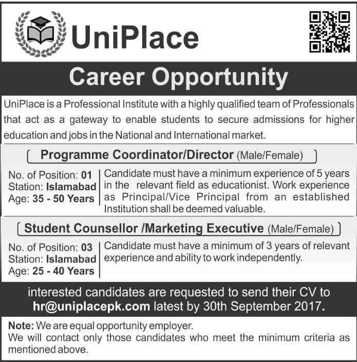 JOBS IN UniPlace Islamabad SEP 2017