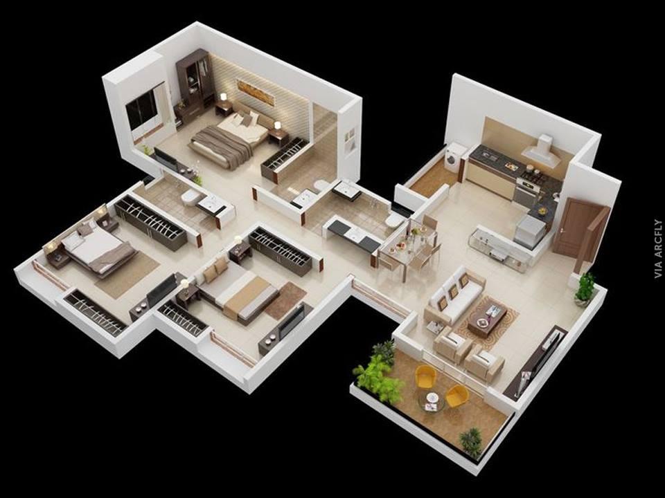 50 Sketsa Rumah Minimalis 3D (3 Kamar Tidur, 2 Lantai, Dan 2 Kamar Tidur)
