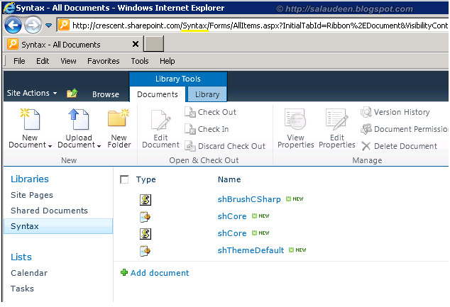 syntaxhighlighter sharepoint 2010