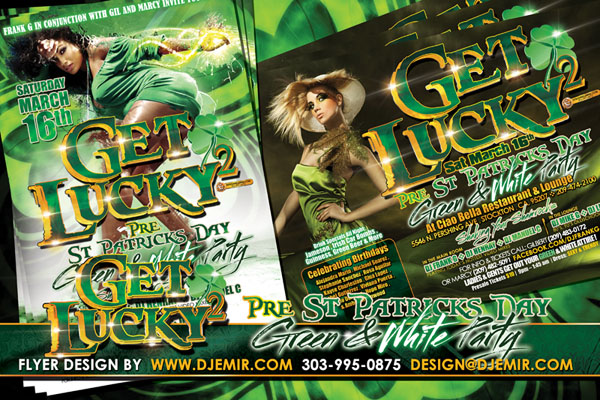 Get Lucky 2 Green And White Pre St. Patrick's Day Party Flyer