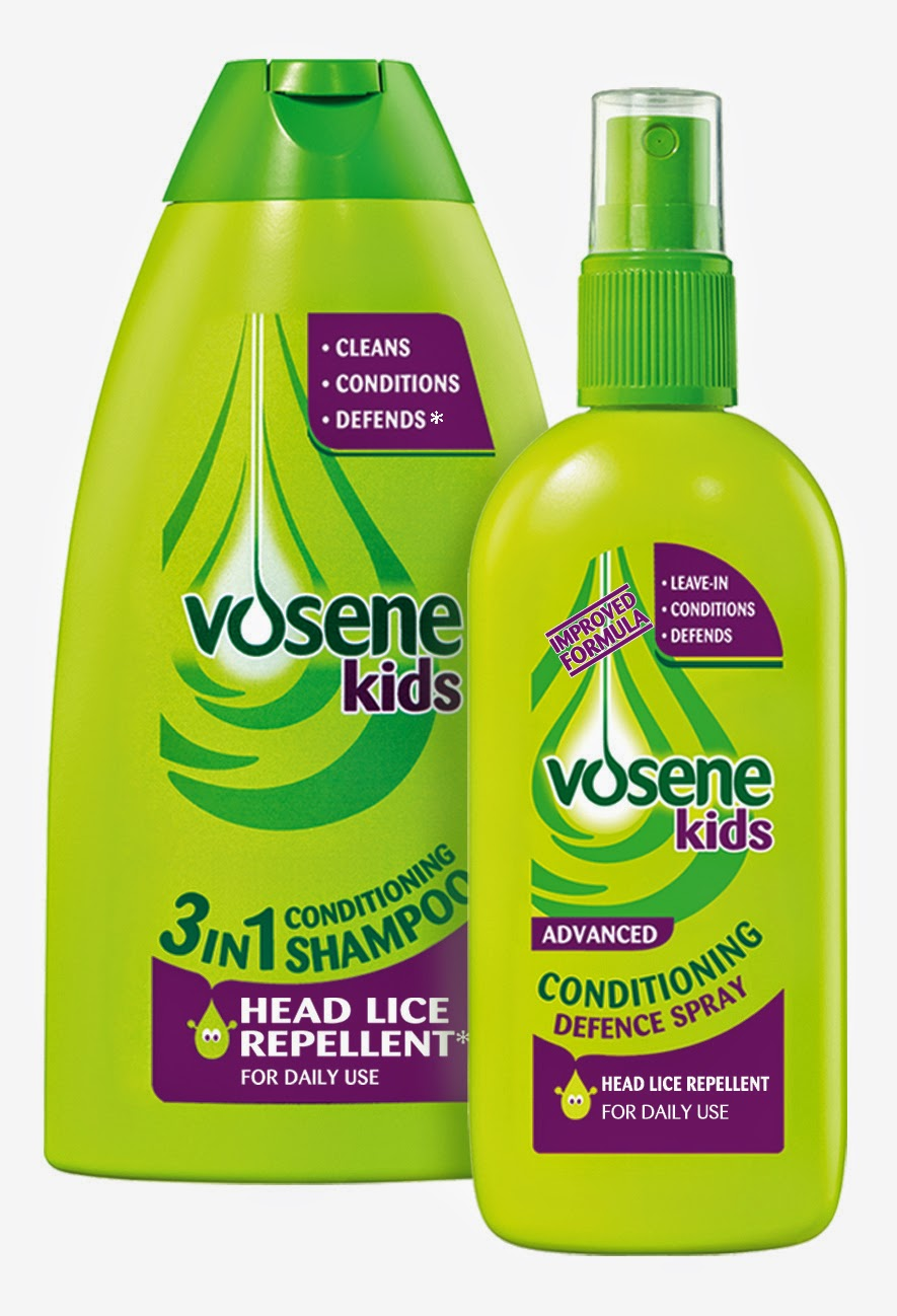 bottles of Vosene nit repellant shampoo and spray