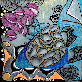 Finish My Tile challenge #184 with Patterns: N'zeppel, Lolo (broken),  Ballace and some Split Balls and a sail and bicycle