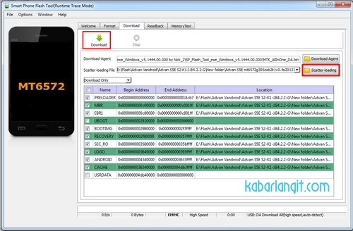 SP Flash Tool - Flashing Advan Vandroid S5E