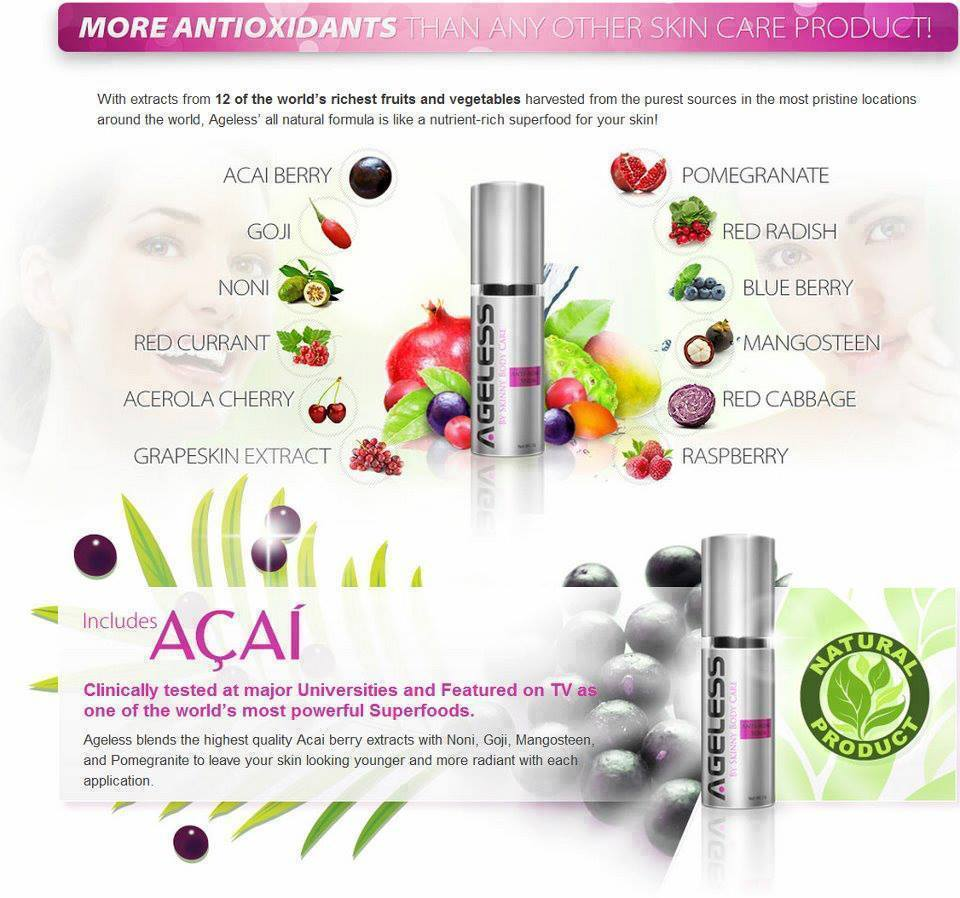 The ingredients in Ageless include 12 antioxidants from fruits that make Ageless like an anti-aging superfood for your skin!