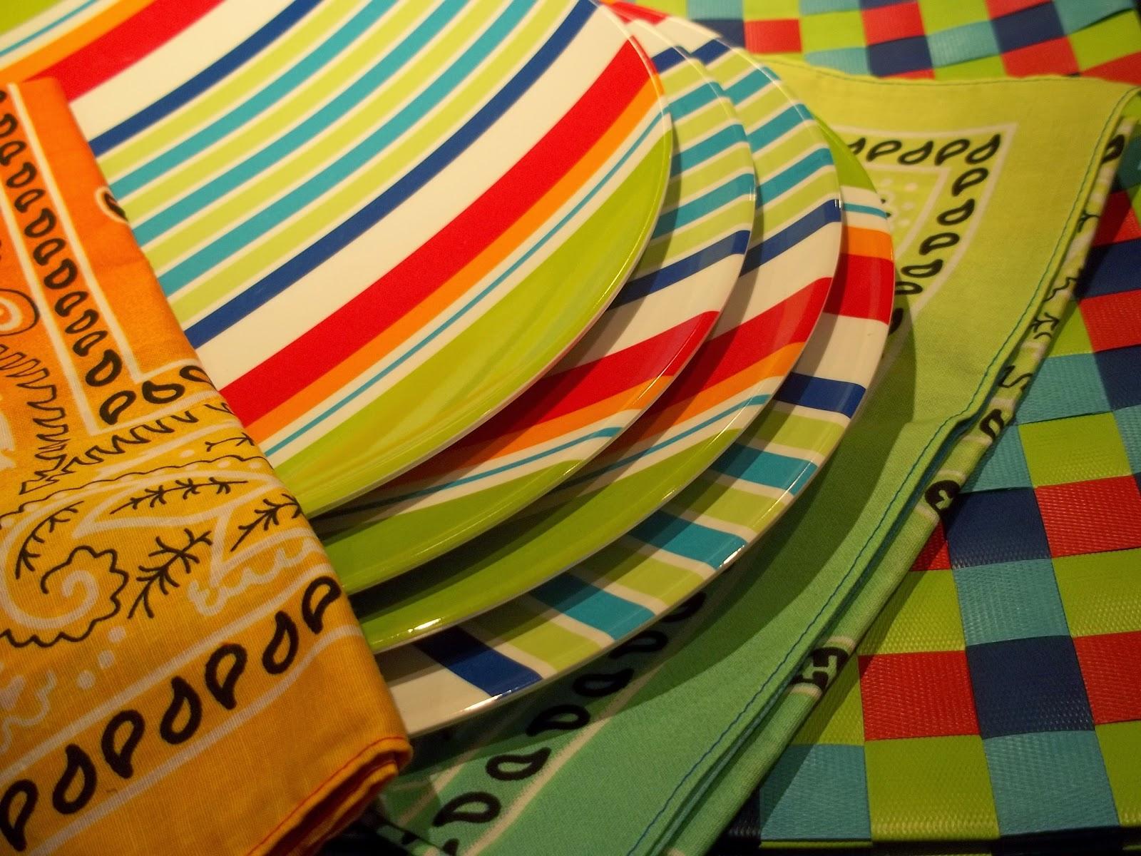 Striped Multi Colored Fiestaware Kitchen Rug