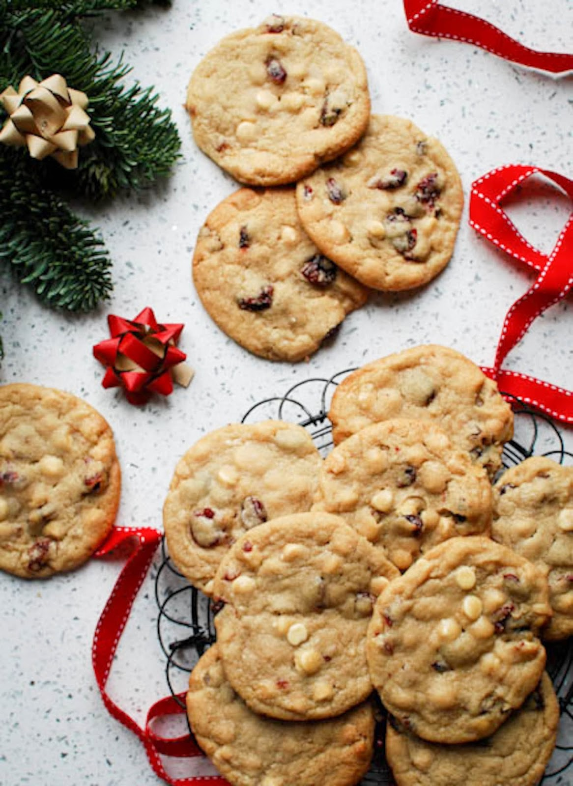Give Santa a break from mince pies this Christmas and bake up a batch of these cranberry and white chocolate cookies instead.