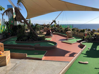 Jurassic Kingdom Adventure Golf at the Biosfere shopping centre in Puerto Del Carmen, Lanzarote. Photo by Brian Butterworth, January 2018