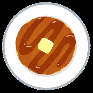 上から見たパンケーキのイラスト(蜂蜜とバター)