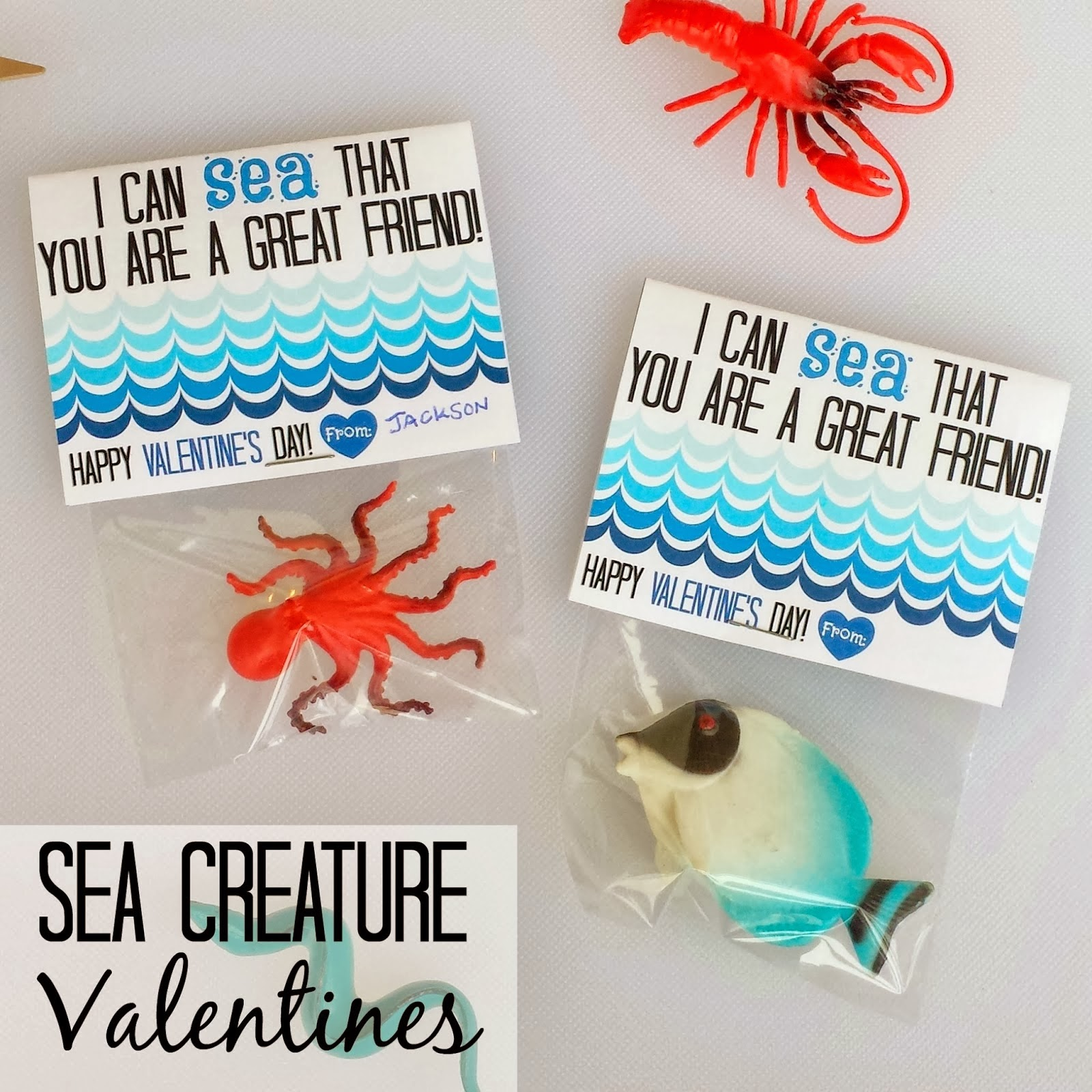 Sea Creature Valentine Printables