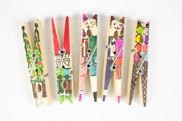 Clothespin people and doodles pink stripey socks for Mini clothespin craft ideas