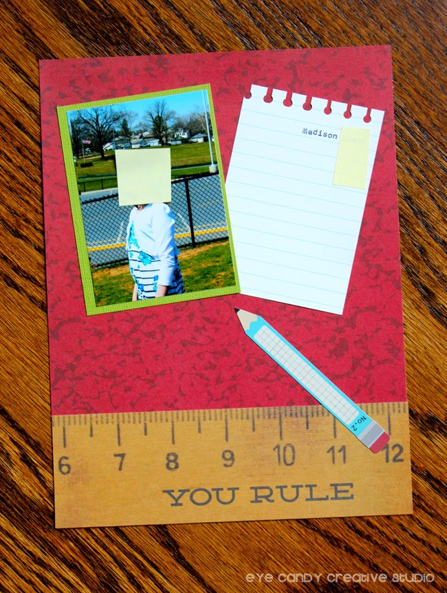 you rule, teacher gift ideas, scrapbook layout idea, pencil, student photos