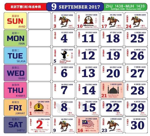 Gambar Kalendar 2017 Termasuk Cuti Peristiwa bulan 9 September