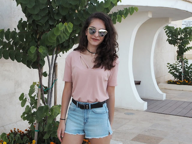 summer outfit, New Look shorts, Boohoo top, Zaful reflective sunglasses