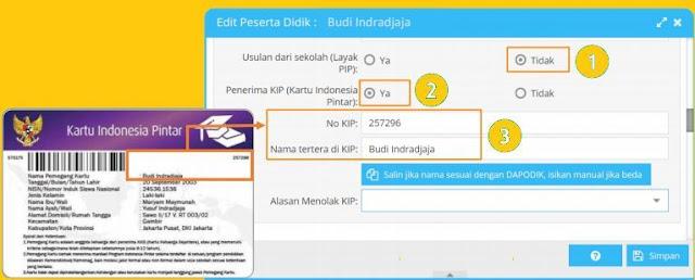 gambar Cara Pengisian nomor KIP Pada Aplikasi Dapodik