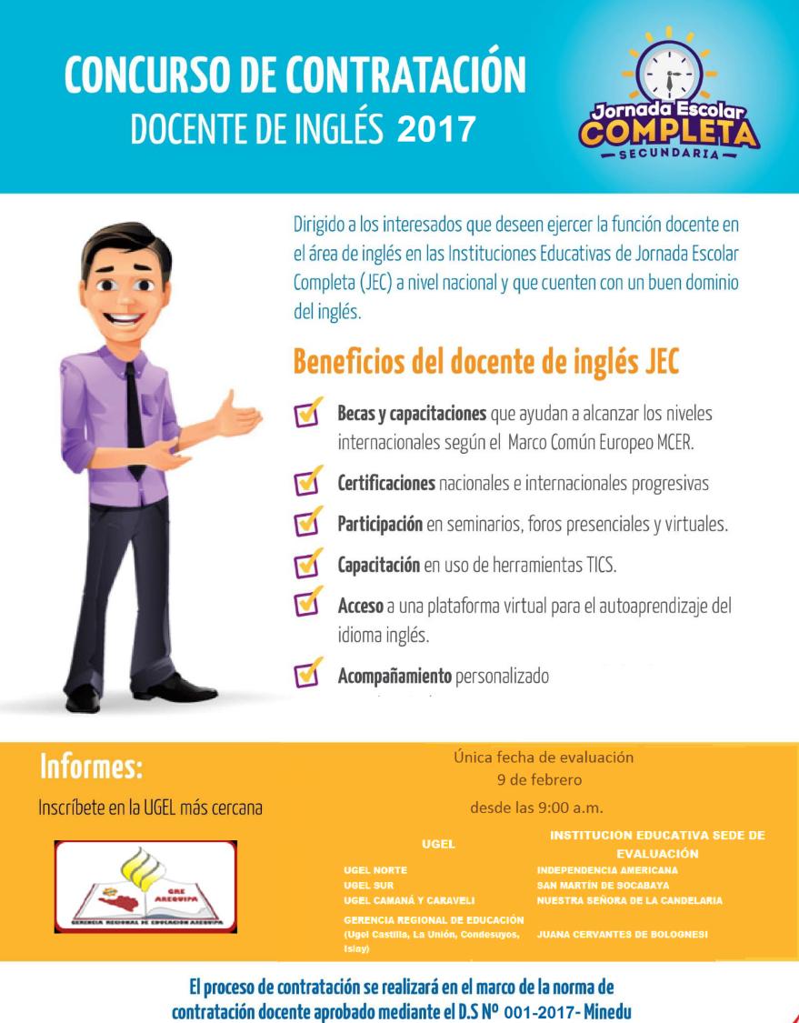 Concurso de contrataci n docente de ingl s para el 2017 for Concurso docentes 2017