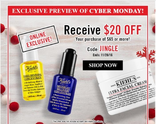 Kiehls Cyber Monday $20 Off Promo Code