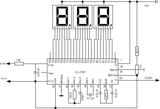 icl7107 sebagai display driver untuk temperature