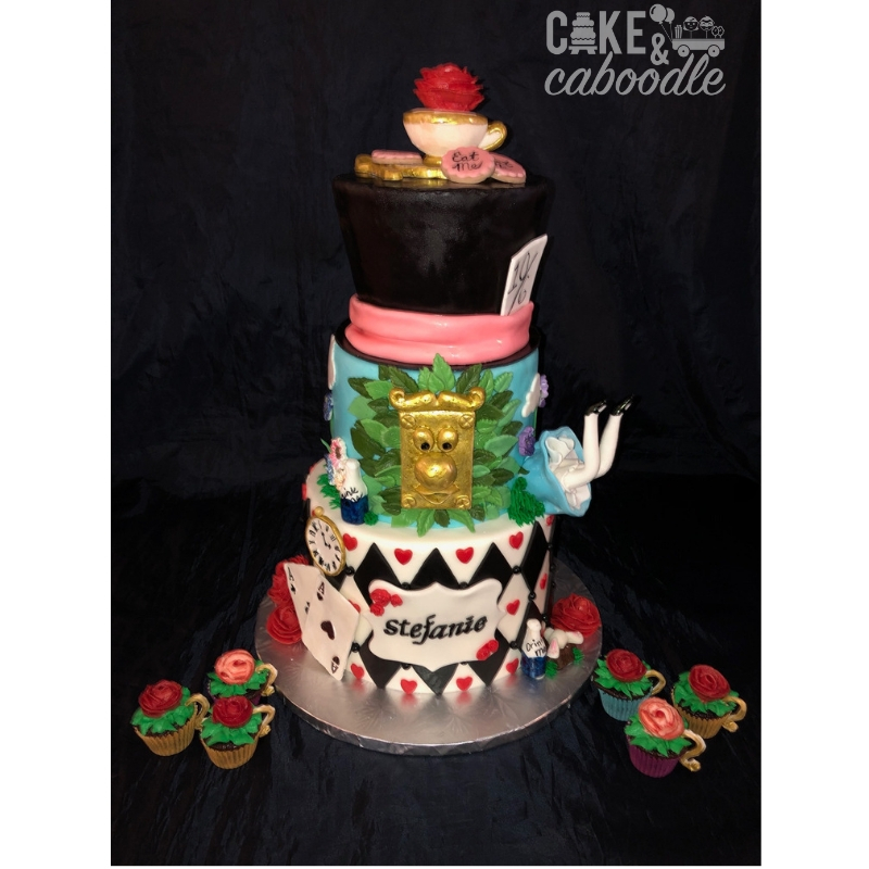 Fabulous Alice In Wonderland Cake And Mini Teacup Cupcakes Cake And Caboodle Funny Birthday Cards Online Alyptdamsfinfo