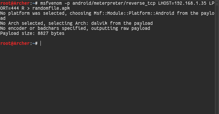 Msfvenom Android Commands