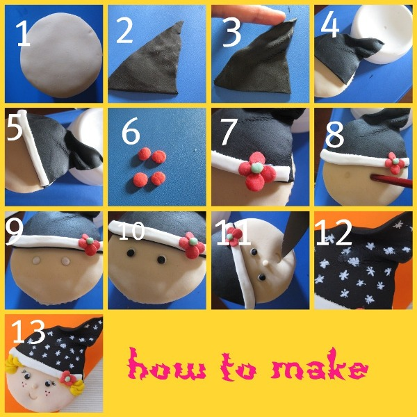 DIY Cute Halloween Witch Cupcakes Toppers - via BirdsParty.com