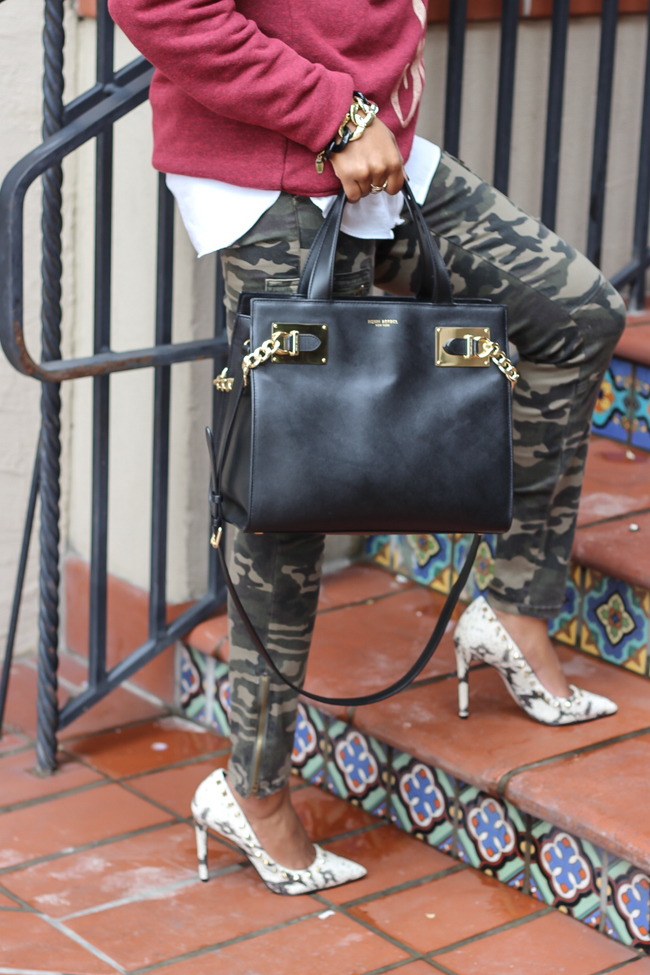 camouflage pants, graphic sweatshirt, ily couture, henri bendel whitney bag, steve madden proto, dallas blogger, fashion blogger, detroit fashion blogger, how to wear camo