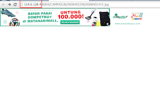 Iklan Indosat diakses dengan alamat IP