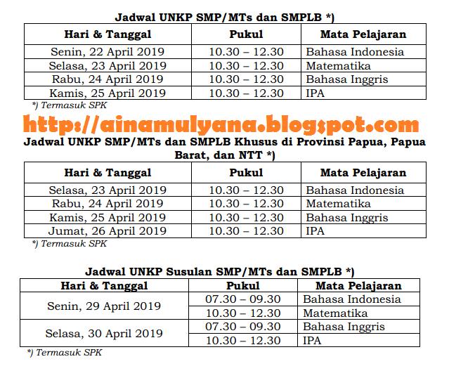 Jadwal UN – UNKP SMP - MTs Tahun 2019 atau Tahun Pelajaran 2018/2019