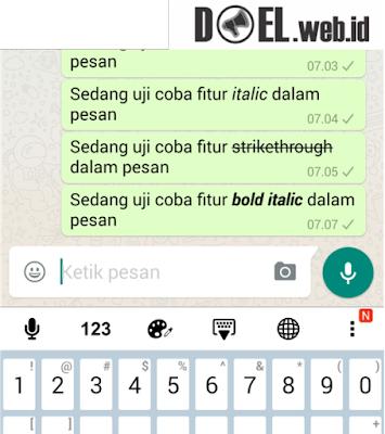 Membuat tulisan bold italic dan strikethorugh di whatsapp