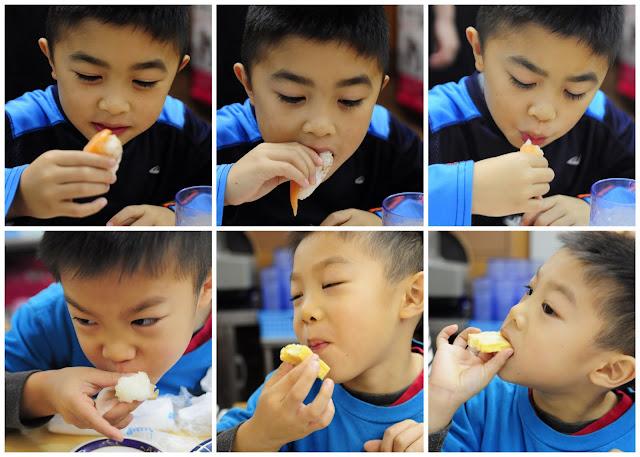 Eating sushi at Tsukiji Market