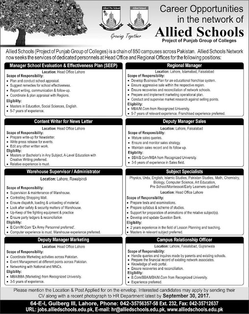Subject Specialists Jobs in Allied School 2017