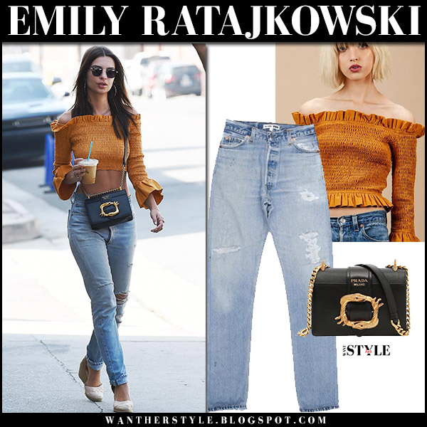 Emily Ratajkowski in mustard off shoulder top, ripped jeans and sandals castaner celebrities in redone jeans what she wore august 2017