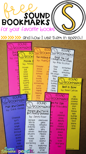 speech sound bookmarks for working on articulation