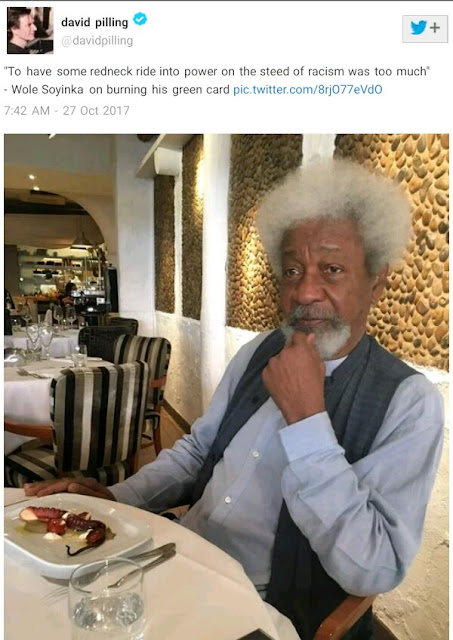 """Proportionate to population, Nigeria has a world record number of imbeciles"" - Wole Soyinka"