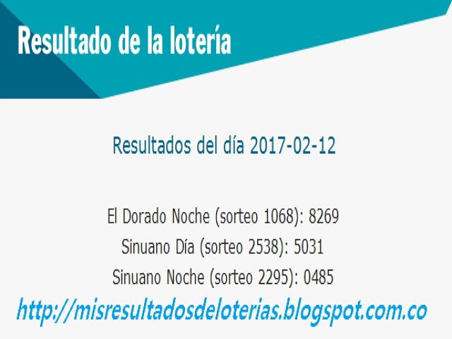 Loterias de Hoy - Resultados diarios de la Lotería y el Chance - Febrero 12 2017