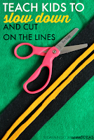 teach kids to slow down and cut on the lines