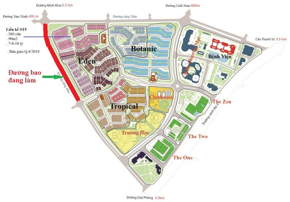 Vị trí tuyến đường bao khu đô thị Gamuda Gardens đang khởi công