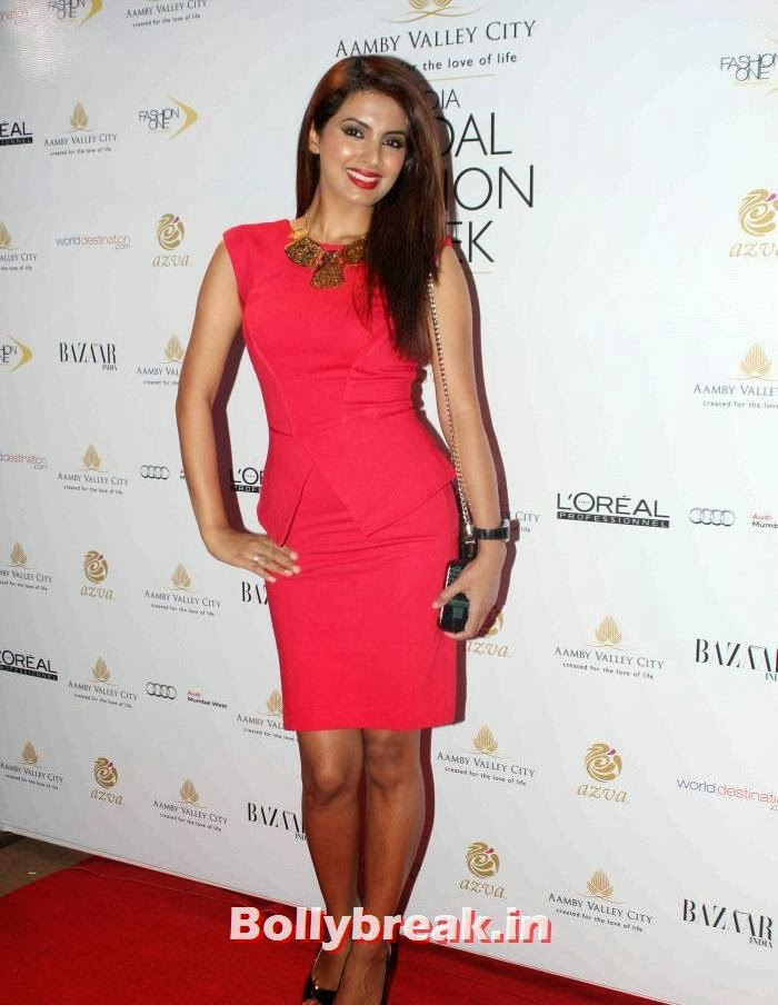 Geeta Basra in red dress, Celebs at India Bridal Fashion Week 2013 Day-6
