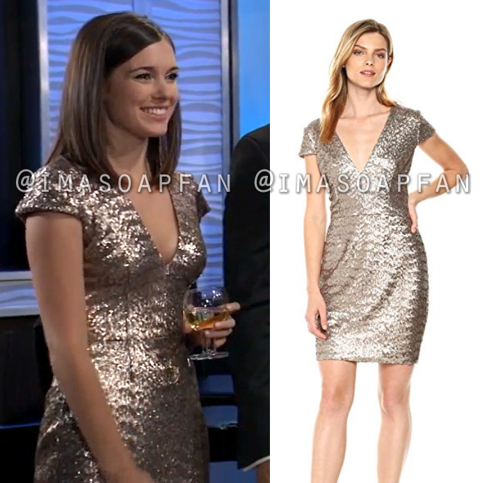 Willow Tait, Katelyn MacMullen, Gold Sequined Mini Dress, General Hospital, GH